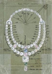 卡地亚杜桑天然钻石项链的图稿